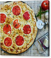 Margarita Pizza With Ingredients Acrylic Print
