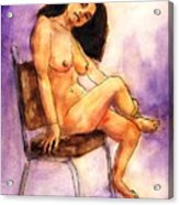 Nude Maria in Her Chair Acrylic Print