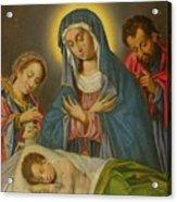 Maria San Jose Y Santa Ines Contemplando Al Nino Acrylic Print