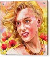 Marilyn Monroe With Poppies Acrylic Print