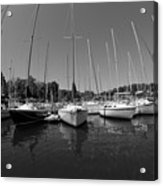Marina On Lake Murray S C Black And White Acrylic Print