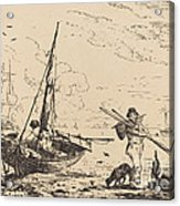 Marine: Fishing Boats On Shore, Man With Oars, Ship In Distance Acrylic Print