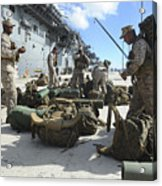 Marines Move Gear During An Embarkation Acrylic Print