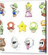 Mario Characters in Watercolor Acrylic Print