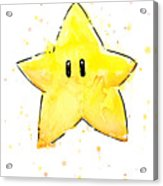 Mario Invincibility Star Watercolor Acrylic Print