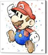 Mario Watercolor Fan Art Acrylic Print