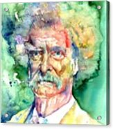 Mark Twain Watercolor Acrylic Print