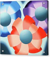 Mark Webster - Abstract Futurist Flowers 2 Oil Painting  Acrylic Print