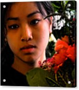Market Flower Seller Acrylic Print