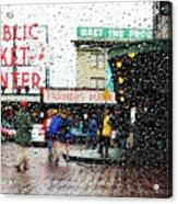 Market In Rain J005 Acrylic Print