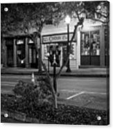 Market Street At Night In Black And White Acrylic Print