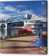 Market Street Bridge With The Delta Queen From Coolidge Park Acrylic Print