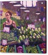 Market Veggie Vendor Acrylic Print