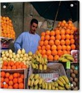 Market Vendor Selling Fruit In A Bazaar Acrylic Print