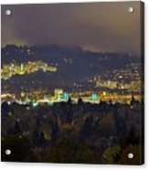 Marquam Hill And Portland Bridges At Night Acrylic Print