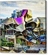 marques de riscal Hotel at sunset - frank gehry - vintage version Acrylic Print