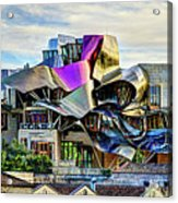 marques de riscal Hotel at sunset - frank gehry Acrylic Print