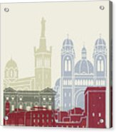 Marseille Skyline Poster Acrylic Print