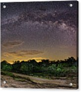 Marveling At The Creation Of God - Milky Way Panorama At Enchanted Rock - Texas Hill Country Acrylic Print