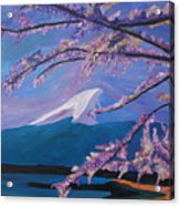 Marvellous Mount Fuji With Cherry Blossom In Japan Acrylic Print