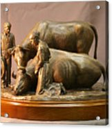Mary Feilding Smith Praying For Her Ox Bronze Sculpture Acrylic Print