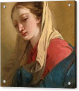Mary Magdalene In Three-quarter View Veiled In A White Cloth Acrylic Print