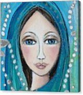 Mary With White Rosary Beads Acrylic Print by Denise Daffara