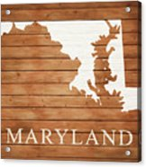 Maryland Rustic Map On Wood Acrylic Print