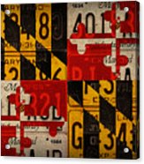 Maryland State Flag Recycled Vintage License Plate Art Acrylic Print