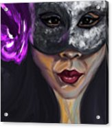 Mask And Flower Acrylic Print