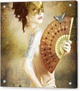Masked Lady Acrylic Print