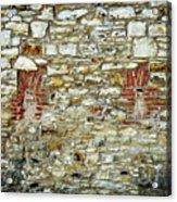 masonry Locked windows on the stone wall Acrylic Print
