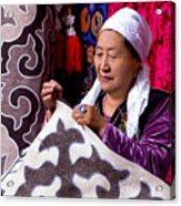Master Of Kyrgyz National Carpet - Shyrdak  Acrylic Print