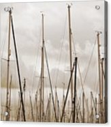 Masts In Sepia Acrylic Print