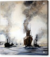 Mauritania Leaving River Tyne 1907. Acrylic Print
