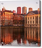Mauritshuis And Hofvijver At Golden Hour - The Hague Acrylic Print