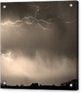 May Showers 2 In Sepia - Lightning Thunderstorm 5-10-2011   Acrylic Print