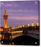 Bridge Of Alexandre IIi At Night Acrylic Print