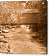 Mcconnells Mill Covered Bridge Sepia Acrylic Print