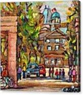 Mcgill Gates  Entrance Of Mcgill University Montreal Quebec Original Oil Painting Carole Spandau Acrylic Print