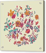 Meadow Flower And Leaf Wreath Isolated On Beige, Circle Doodle F Acrylic Print