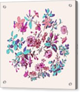 Meadow Flower And Leaf Wreath Isolated On Pink, Circle Doodle Fl Acrylic Print