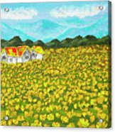 Meadow With Yellow Dandelions, Oil Painting Acrylic Print