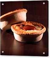 Meat Pies With Sauce And High Contrast Lighting. Acrylic Print
