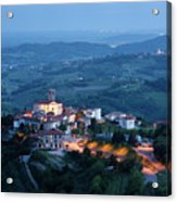 Medieval Hilltop Village Of Smartno Brda Slovenia At Dusk With S Acrylic Print