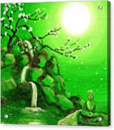 Meditating While Cherry Blossoms Fall In Green Acrylic Print