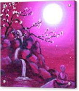 Meditating While Cherry Blossoms Fall Acrylic Print
