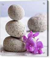 Meditation Stones Pink Flowers On White Sand Acrylic Print