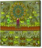 Meditative Garden Got Visit Of Lady Panda And The Floral Skulls Acrylic Print
