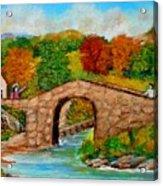 Meeting On The Old Bridge Acrylic Print